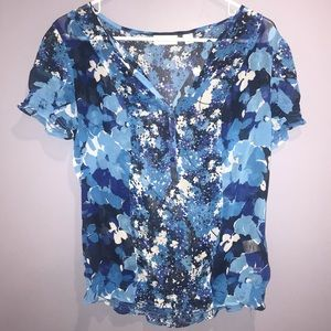 NWOT New York & Company Blue Floral Blouse Size M